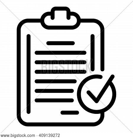 Checklist Done Icon. Outline Checklist Done Vector Icon For Web Design Isolated On White Background