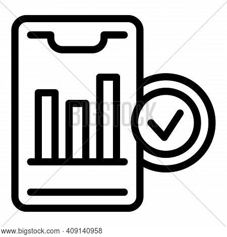 Market Position Graph Icon. Outline Market Position Graph Vector Icon For Web Design Isolated On Whi