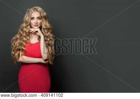 Attractive Blonde Woman In Red Dress On Black Banner Background