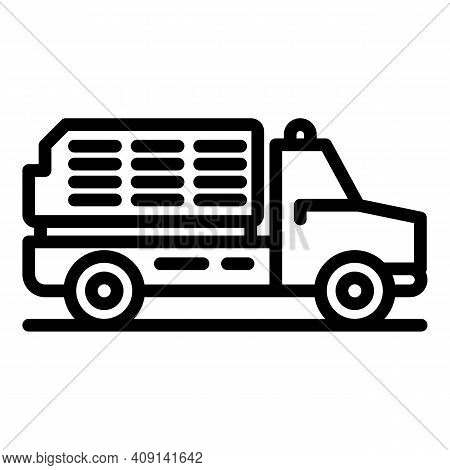 Airport Service Van Icon. Outline Airport Service Van Vector Icon For Web Design Isolated On White B