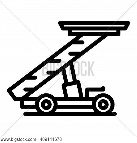 Passenger Ladder Truck Icon. Outline Passenger Ladder Truck Vector Icon For Web Design Isolated On W