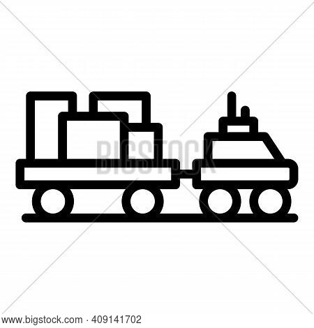 Airport Luggage Truck Icon. Outline Airport Luggage Truck Vector Icon For Web Design Isolated On Whi