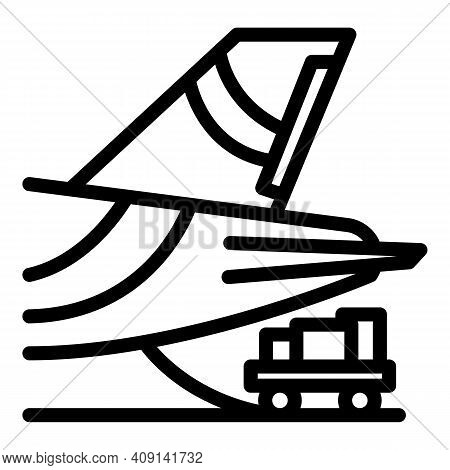 Boarding Plane Icon. Outline Boarding Plane Vector Icon For Web Design Isolated On White Background