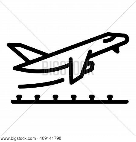 Departure Plane Icon. Outline Departure Plane Vector Icon For Web Design Isolated On White Backgroun