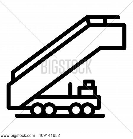 Plane Ladder Icon. Outline Plane Ladder Vector Icon For Web Design Isolated On White Background