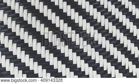 Seamless Pattern Of Black And White Bamboo Weaving For Background In Vintage Tone. Natural Material