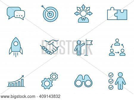Teamwork Line Vector Icons In Two Colors Isolated On White Background. Teamwork Blue Icon Set For We