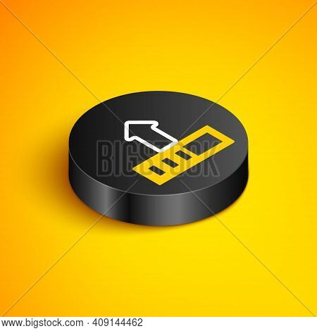 Isometric Line Loading Icon Isolated On Yellow Background. Upload In Progress. Progress Bar Icon. Bl