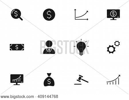 Business Glyph Vector Icons Isolated On White. Business Icon Set For Web Design, Mobile App, User In