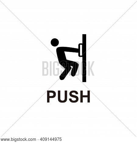 Push Door Sign On Black Background. White Push Door Sign White On Black Background Drawing By Illust