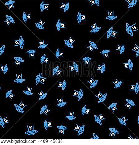 Line Ufo Abducts Cow Icon Isolated Seamless Pattern On Black Background. Flying Saucer. Alien Space
