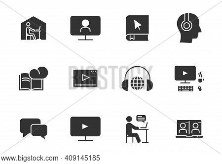 E Learning Black Vector Icons Isolated On White. E Learning Icon Set For Web, Mobile Apps, Ui Design