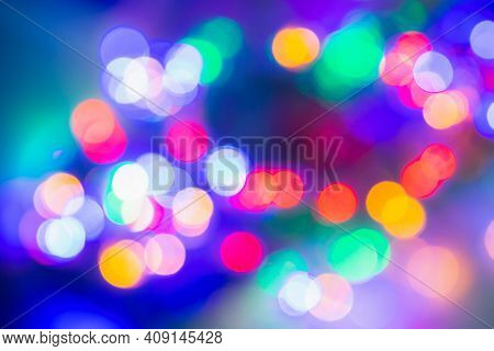 Bokeh Light Vintage Background. Defocused Bokeh Lights. Christmas Xmas Festive Lights Bokeh Backgrou