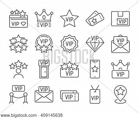 Vip Icon. Very Important Person Line Icons Set. Vector Illustration. Editable Stroke.