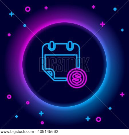 Glowing Neon Line Financial Calendar Icon Isolated On Black Background. Annual Payment Day, Monthly