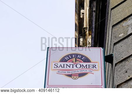 Bordeaux , Aquitaine France - 02 16 2021 : Saint Omer Logo Sign And Brand Text Of French Brewery In