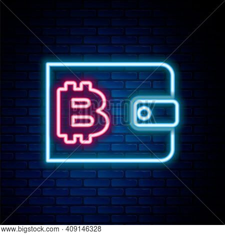 Glowing Neon Line Cryptocurrency Wallet Icon Isolated On Brick Wall Background. Wallet And Bitcoin S