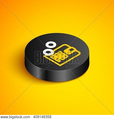 Isometric Line Proof Of Stake Icon Isolated On Yellow Background. Cryptocurrency Economy And Finance