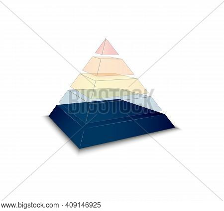 Assembled Pyramid Chart On White Background Realistic Vector Illustration