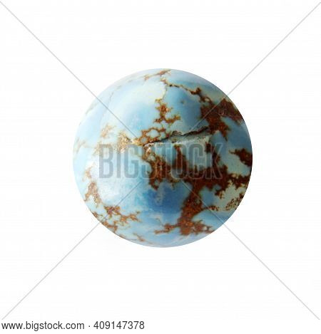 Natural Turquoise Sphere Closeup On White Background