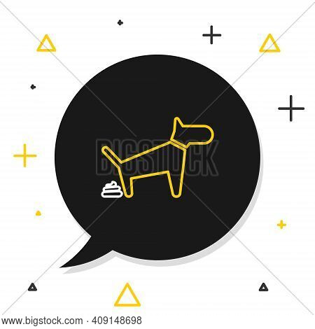 Line Dog Pooping Icon Isolated On White Background. Dog Goes To The Toilet. Dog Defecates. The Conce