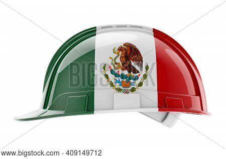 Hard Hat With Mexican Flag, 3d Rendering Isolated On White Background