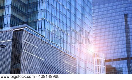 Downtown Corporate Business District Architecture. Glass Reflective Office Buildings Against Blue Sk