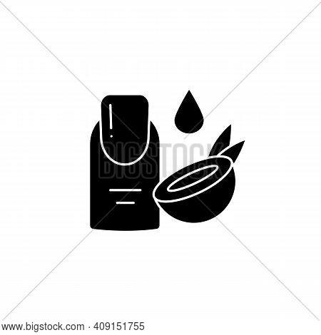 Cuticle Hydrator Glyph Icon. Organic Coconut Cuticle Hydrator Makeup Production, Spa Procedures. Fac