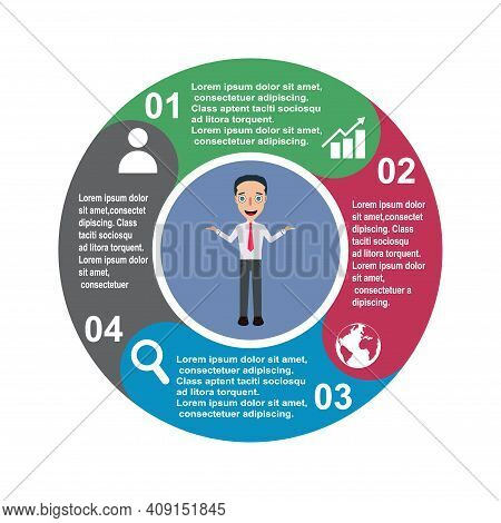 4 Step Vector Element In Four Colors With Labels, Infographic Diagram. Business Concept Of 4 Steps O
