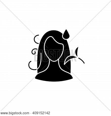 Hair Detangler Glyph Icon. Beauty Parlor. Hairdresser Services, Spa Procedures. Hair Vegetable Glyce