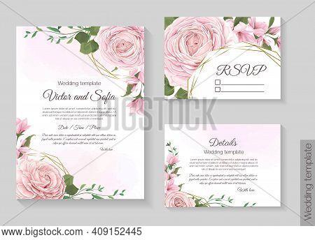 Floral Template For Wedding Invitation. Invitation Card, Rsvp, Details. Pink Roses, Sakura, Magnolia