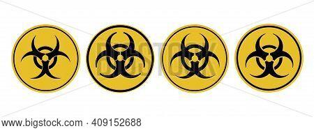 Danger Attention Sign Viral Danger. Warning. Biological And Radiation Hazard. Vector Illustration.
