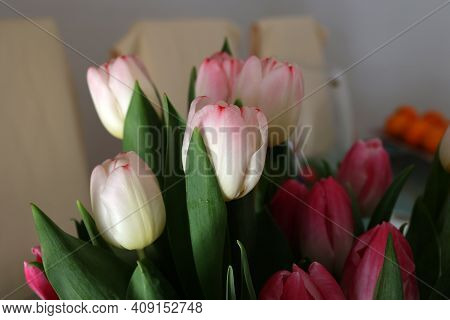 Spring Bouquet Of Tulips On A Blurred Background