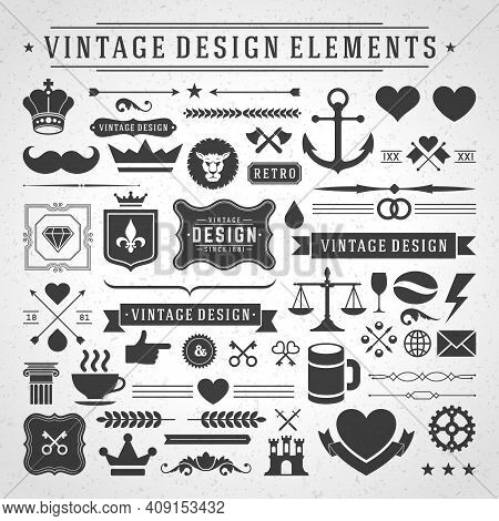 Vintage Labels And Badges Design Elements Vector With Typographic Symbols.
