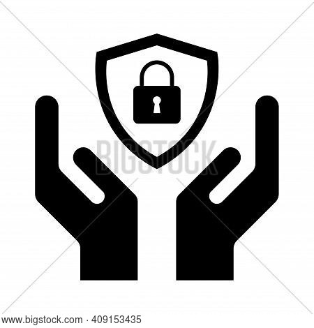 Hope Icon, Human Hand With Shield Symbol, Help And Protection Graphic Design, Support Vector Illustr