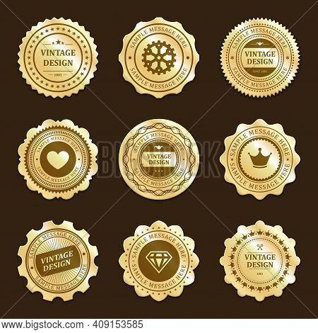 Gold Stickers With Vintage Design Vector Labels Set
