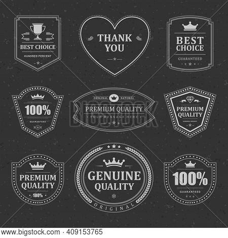 Monochrome Premium Vector Labels And Badges Set
