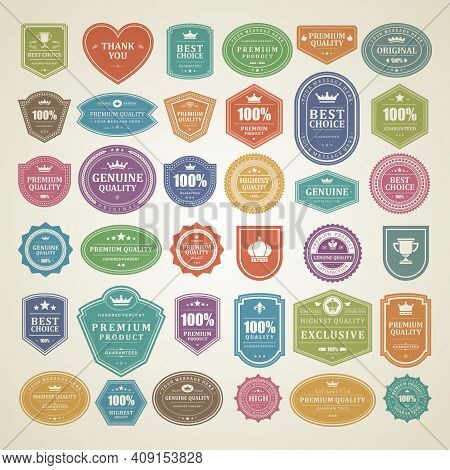 Vintage Vector Labels And Badges Set Vith Retro Typographic Elements