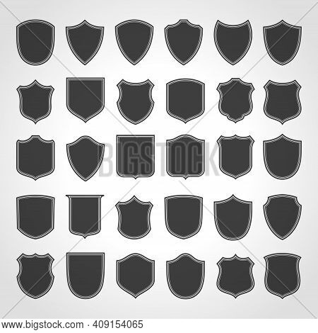 Shabby Black Vintage Vector Frames. Blank Old Stickers For Decorative Advertising Stamps.