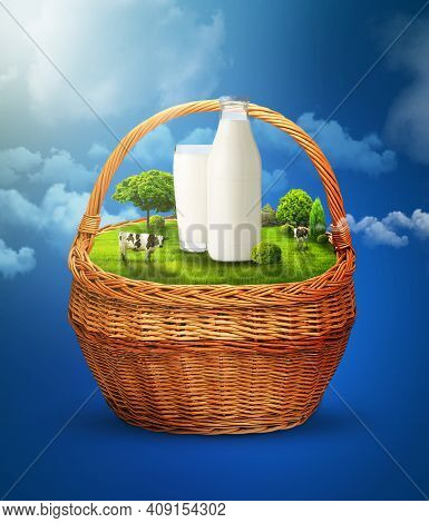 Glade And Green Meadow In The Basket. Cows In The Meadow. A Bottle Of Milk In A Clearing. Milk In Th