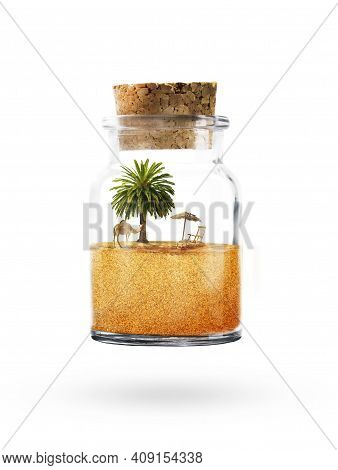 Vertical Bottle With Sand. Camel In The Bottle. Desert In A Vertical Bottle Standing. A Camel With A