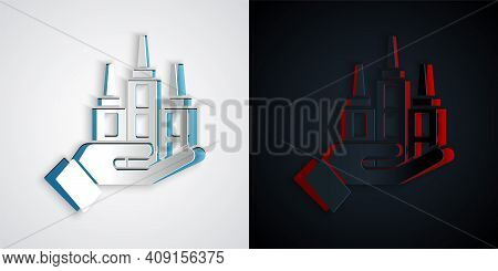 Paper Cut Skyscraper Icon Isolated On Grey And Black Background. Metropolis Architecture Panoramic L