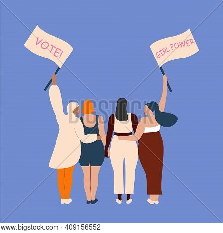 International Womens Day. 8th March. Poster With Different Skin Color Women With A Transponder. Vect