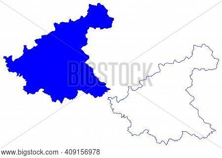 Rieti Province (italy, Italian Republic, Lazio Region) Map Vector Illustration, Scribble Sketch Prov