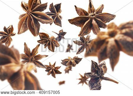 Anise Stars Levitate On A White Background