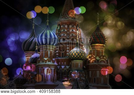 Night St Basil's Cathedral At Bokeh Colorful Lights.