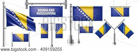Vector Set Of The National Flag Of Bosnia And Herzegovina