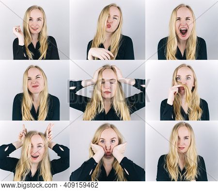 Nine Frames In One Shot. The Blonde Girl Shows Different Emotions. From Sadness To Madness. Shouts,