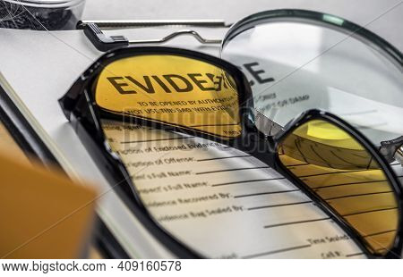 Glasses Uv For Criminology On Police Records, Conceptual Image