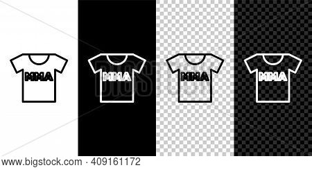 Set Line T-shirt With Fight Club Mma Icon Isolated On Black And White, Transparent Background. Mixed
